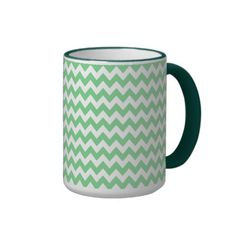 Elegant Mint-Green Retro Chevron Pattern Coffee Mugs