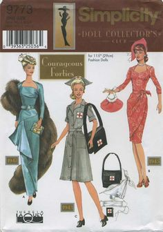 Retro Vintage Sewing Pattern | Doll Clothes for 11½ Fashion Dolls | Simplicity 9773 | Year 2001 | One Size | Courageous Forties