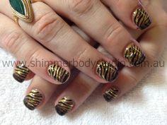 Gel nails, Glitter Nails, Konad stamping nail art, Gold Nails.