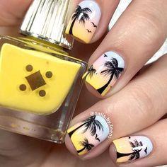 Summer nails palm tree nails nails art - tree nail art, palm tree nails e. Trendy Nails, Cute Nails, Tropical Nail Designs, Palm Tree Nail Art, Beach Nail Art, Nagellack Design, Nail Arts, Summer Nails, Nail Art Designs