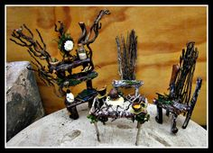 Handcrafted Artisan Fairy Table, Bureau & Twig Chairs
