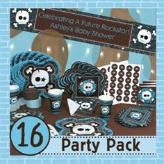 This Rock star party pack is everything you need to have your rock star baby shower party.  It is such a fun way to celebrate your future rockstar.  For more Rock star baby shower ideas  Go to: http://www.modern-baby-shower-ideas.com/rock-star-baby-shower.html and use coupon code: Modern11 and save 11%