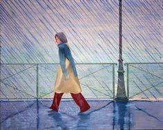 David Hockney - Yves Marie in the Rain, 1973  oil on canvas  48 x 60 in.