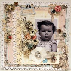 Today Was Such a Great Day ~ Adorable vintage style baby page with intricate punched edges and borders.