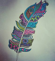 Colourful feather drawing, designed by myself