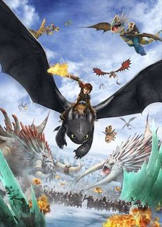 Those Bewilderbeasts don't look happy about how Hiccup and Toothless are flying towards the camera.... just saying it's not very nice to fly at others shooting fire from your mouth.... unless you wanna kill them, then it's okay. :P