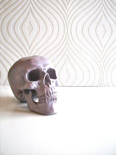 Skull Head in purple gray Mr Smiley {by mahzerandvee on Etsy}  love the back wall