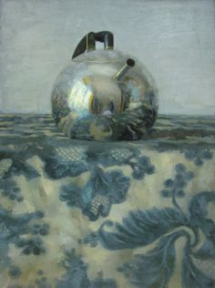'Silver Teapot on Blue Floral' by Russian-born painter Olga Antonova (b 1956). Oil on canvas, 32 x 23.5 in. via Gallery Henoch