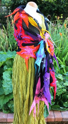 Black silk georgette nuno felted shawl  multi by Angelab5705