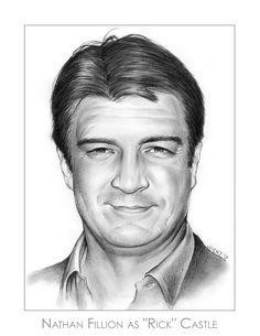 Nathan Fillion as Rick Castle Pencil Portrait Art by gregchapin on deviantART ~ artist Greg Joens