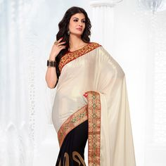 Off White and Black Satin Shimmer and Faux Georgette Jacquard Saree With Blouse