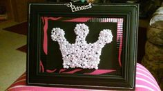 Frame, black paint, hot pink duct tape and pearls glued in crown design,  added princess necklace piece. Got idea here on pinterest.. yeah, daughter loves it
