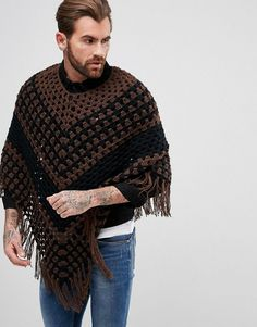 Buy ASOS Crochet Poncho In Brown at ASOS. With free delivery and return options (Ts&Cs apply), online shopping has never been so easy. Get the latest trends with ASOS now. Mens Poncho, Best Essential Oil Diffuser, Crochet Men, Crochet Poncho Patterns, Crochet Designs, Crochet Projects, Asos, Autumn Fashion, Fashion Online