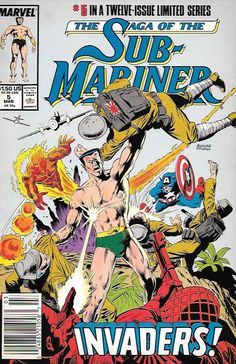 Invaders__script by Roy Thomas and Dann Thomas, pencils by Rich Buckler , Cover art by Rich Buckler , The Story ...retells Namor's teaming with Torch in Marvel Mystery #17 and Invaders. Subby, Bill, a
