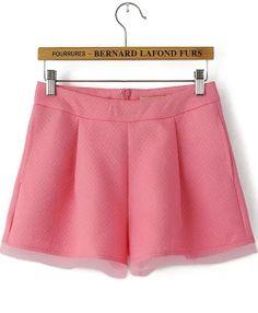 Red Jacquard Contrast Organza Shorts - Sheinside.com