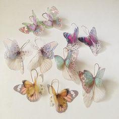 Papillons tous plus Organza boucles d'oreilles Teal et par jewelera