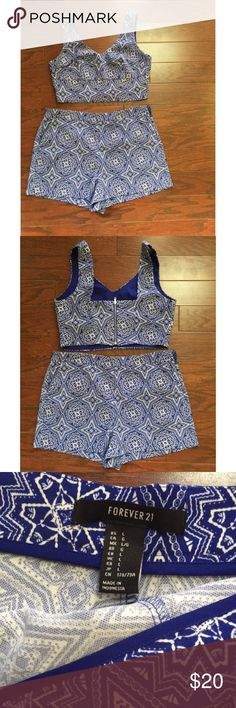 Forever 21 two piece short set This blue and white two piece suit is my absolute favorite . Perfect for summer and also transitioning into fall . Dress this up with a pair of heels or dress it down with converse shoes ! I've done both 😉 . I love love love this piece . ( just a size to big for me in the bottom half ) Top small , shorts large . Ps. Top will fit basically anybody ranging from (A cup -D cup) Forever 21 Other
