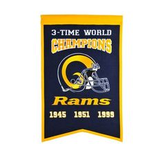 Celebrate your favorite team's lifetime achievements with the NFL Super Bowl Champions Banner. Showcasing team colors and championship logos, this festive pennant is a great way to decorate any sports fan's home or office. Blackhawks Hockey, Rangers Hockey, Chicago Blackhawks, Banner Online, Nfl Los Angeles, St Louis Rams, La Rams, Saint Louis, Champs