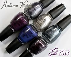 """China Glaze Autumn Nights Fall 2013 """"Gossip Over Gimlets"""" Set Swatches and Review 