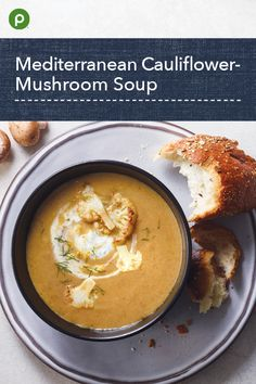 Mediterranean Cauliflower-Mushroom Soup Recipe This Publix Aprons® recipe for Mediterranean Cauliflo Diet Recipes, Cooking Recipes, Healthy Recipes, Publix Aprons Recipes, Cauliflower Mushroom, Mushroom Soup Recipes, Mushroom Recipe, Nutritious Snacks, Calories