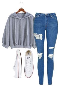 """Untitled #571"" by aaisha123 ❤ liked on Polyvore featuring Topshop and Converse"