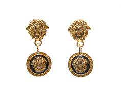 Authentic Gianni Versace Medusa logo vintage clip on earrings
