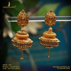 Gold 916 Premium Design Get in touch Gold Jhumka Earrings, Gold Bridal Earrings, Jewelry Design Earrings, Gold Rings Jewelry, Gold Earrings Designs, Coral Jewelry, Designer Earrings, Gold Jewellery, India Jewelry