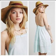 Free people apron slip dress mini high neck Beautiful pale mint semi sheer slip dress. High neck. Back is adjustable with ties Free People Dresses Mini