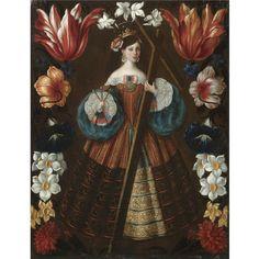 Female Saint with cross spanish school 17th century