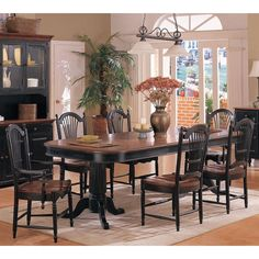 Cottage Dining Table & Sheaf Back Chairs in Cherry / Ebony by Winners Only