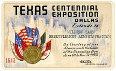 Texas Centennial Exposition Pass, Dallas, 1936 | by Alan Mays Patriotic Decorations, Dallas, Texas, Letters, How To Plan, Letter, Lettering, Texas Travel, Calligraphy