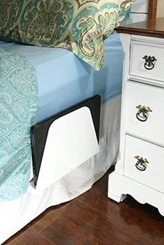 Bedside Caddy, Laptop, Tablet or eReader storage, Computer stand, Magazine Rack, eReader holder, White  Handmade wooden bedside caddy to store laptop, tablet or eReader and clear nightstand clutter. Sturdy, wooden stand installs in seconds and provides a secure yet out of the way holder for your electronics or magazines. Installation is as easy as inserting the hinged tab between the mattress and boxspring. No homeandgarden.bou...