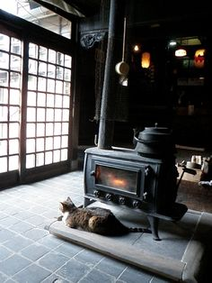 Japanese antique stoves & cat keeping warm