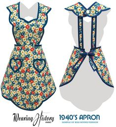 Sewing Patterns Free E-Pattern Apron Wearing History PDF Vintage Sewing - Wearing History Apron Pattern Free, Vintage Apron Pattern, Aprons Vintage, Free Sewing, Vintage Sewing Patterns, Retro Apron Patterns, Dress Vintage, Vintage Stuff, Vintage Clothing