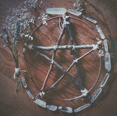 Lovely pagan altar with wooden pentacle