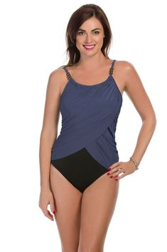 98fce1a001f Magicsuit by Miraclesuit Solid Colorblock Lisa One Piece Swimsuit Blue Sz  16 #fashion #clothing