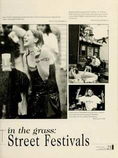 """Athena yearbook, 1999. """"Sopping wet in the grass: Street Festivals"""". :: Ohio University Archives."""