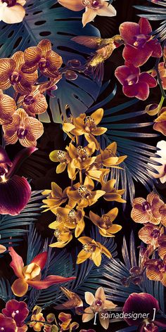Walter Spina | Estampa Tropical Orchid (Dark version)