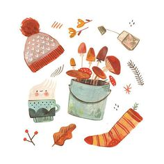 """⚘ Monа K • Illustrator ⚘ on Instagram: """"Happy fall you guys! 🍂🧡 We got a soft wave of rain this weekend and I felt so crafty and happy, but also slightly sad. My favorite long…"""",#crafty #happy #illustrator #instagram #slightly #weekend Autumn Illustration, Children's Book Illustration, Thanksgiving Art, Soft Waves, Poster S, Illustrators On Instagram, Autumn Art, Happy Fall, Graphic"""