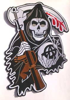 sons of anarchy patches | Sons of Anarchy Skull CENTER Backpatch SAMCRO redwood original ...
