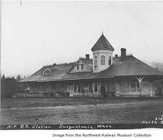 October 2014 - October is American Archives Month. This image of the Snoqualmie Railway Depot, ca. 1910, from the Northwest Railway Museum Collection has been made available for viewing online through King County Snapshots.