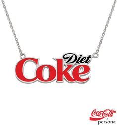 "Zales Coca-Cola® x Persona® Sterling Silver Enamel Diet Coke® Nameplate Necklace with Lobster Claw Clasp - 16.0"" + 2.0"""