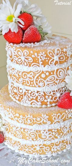 Semi-Dressed Cake member cake decorating video tutorial! Learn to glaze the cake to prevent dryness, and beautiful piped scrollwork! MyCakeSchool.com