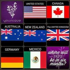 These are the countries that Younique is already in and the two that we are going into this year It is all getting very exciting and is getting very busy, so need all the help that I can get Looking for motivated ladies and gents to compliment my circle