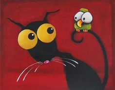 Stressie Cat Painting - Stressiecat And The Bird by Lucia Stewart