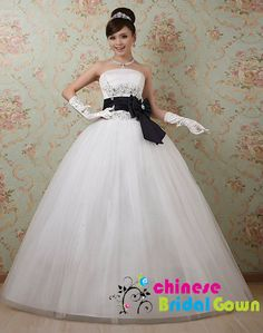 Style 9098, Organza Ball Gown Strapless  Chinese Wedding Dress by CBG.