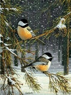These chickadees wait out a winter snow storm in a berry filled tree in Cynthie Fisher's print Woodland Sprites. Pairs well with other Cynthie Fisher bird prints such as Garden Visitors Comes in an op Illustration Noel, Christmas Illustration, Illustrations, Christmas Bird, Christmas Scenes, Pretty Birds, Beautiful Birds, Bird Clipart, Winter Painting