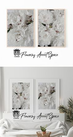 White Peonies, White Flowers, Nursery Decor, Bedroom Decor, White Colors, Minimalist Bedroom, Beautiful Artwork, Country Decor, Art Boards