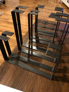 Handcrafted Forged Rustic Reclaimed Metal Coffee Table Legs Steel Square Rectangle Brackets Modern bracket Storage Strap Angle seat iron Floating wood shelf Hanging stand Industrial modern adult kid child natural tree wood salvaged wood live edge wood reclaimed wood iron mounting mid century rack Home decor living bench chair Flat bar DIY