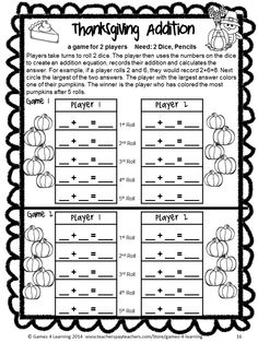 No Prep Thanksgiving math game for first grade from Thanksgiving Math Games First Grade by Games 4 Learning. $
